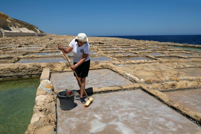 Au Nord de l'île, le sel est récolté au balai et à la pelle