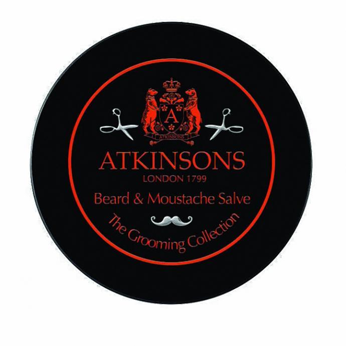 """Beard and Moustache Salve, pommade adoucissante et disciplinante, The Grooming Collection, Atkinsons, 38 &euro; chez <a href=""""http://beautybykroonen.com"""" target=""""_blank"""">beautybykroonen.com</a>"""