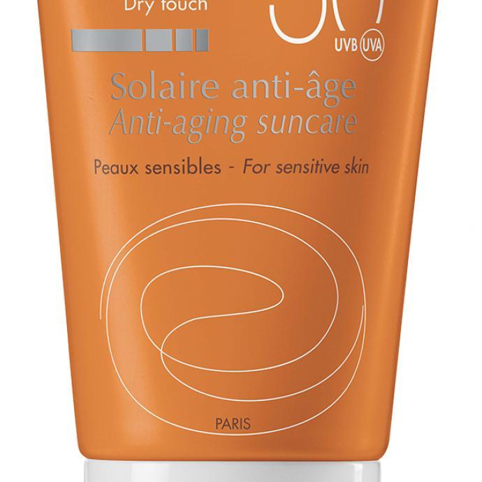 Crème solaire anti-âge toucher sec, SPF50, Avene, 19,50€.
