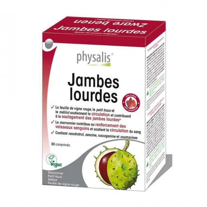 """Des compl&eacute;ments alimentaires anti James lourdes, 30 comprim&eacute;s, Physalis, disponible chez <a href=""""https://www.di.be/fr/p/complement-alimentaire-physalis-jambes-lourdes---30-comprimes-40012598.html"""" target=""""_blank"""">Di</a>&nbsp;&agrave; 12,50 &euro;."""