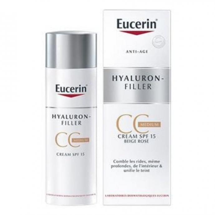 <strong>La cr&egrave;me antirides :</strong> Hyaluron-Filler Medium CC Cr&egrave;me, Eucerin, 100 ml, 24,50 &euro;Sa formule associ&eacute;e &agrave; de l&#39;Acide hyaluronique permet d&rsquo;agir &agrave; la source de la formation des rides, tandis que la Glycine Saponine, un ingr&eacute;dient bio-actif, stimule la production naturelle d&#39;acide hyaluronique de la peau. La protection SPF 15 et UVA pr&eacute;vient de mani&egrave;re efficace le vieillissement cutan&eacute; pr&eacute;matur&eacute; caus&eacute; par les rayons UV.&nbsp;<br />&nbsp;
