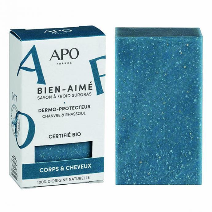 """Bien-Aim&eacute;, savon pour le visage, le corps et les cheveux, APO, 4,90 &euro; chez Urban Therapy (<a href=""""http://urbantherapy.be"""" target=""""_blank"""">urbantherapy.be</a>) et <a href=""""http://apofrance.com"""" target=""""_blank"""">apofrance.com</a>"""
