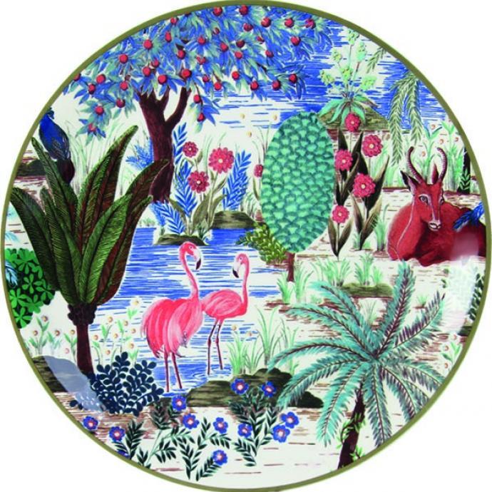 """<strong>Jungle fever</strong><br />Assiette &agrave; canap&eacute;s (&Oslash; 16,5 cm) ou &agrave; dessert (&Oslash; 23, 2 cm). Mod&egrave;le Antilope, &nbsp;Flamant rose, H&eacute;ron ou Tigre, 84 &euro; et 116 &euro; le coffret de 4 pi&egrave;ces, cr&eacute;ation Pierre Frey pour Gien (<a href=""""http://gien.com"""" target=""""_blank"""">gien.com</a>). &copy; Gien"""