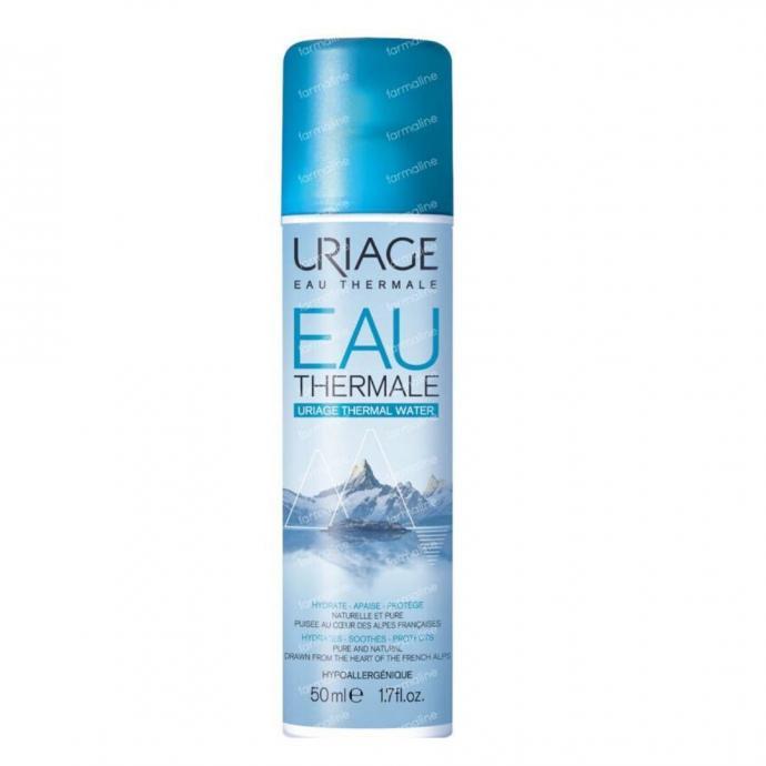 """L&rsquo;eau thermale d&rsquo;Uriage, 50 ml. Riche en oligo-&eacute;l&eacute;ments et en min&eacute;raux, elle hydrate et apaise les peaux les plus sensibles. A utiliser quotidiennement aussi souvent que vous en ressentez le besoin. <em>A shopper <a href=""""https://www.uriage.com/BE/fr/produits/eau-thermale-d-uriage"""" target=""""_blank"""">ici.</a>&nbsp;</em>"""