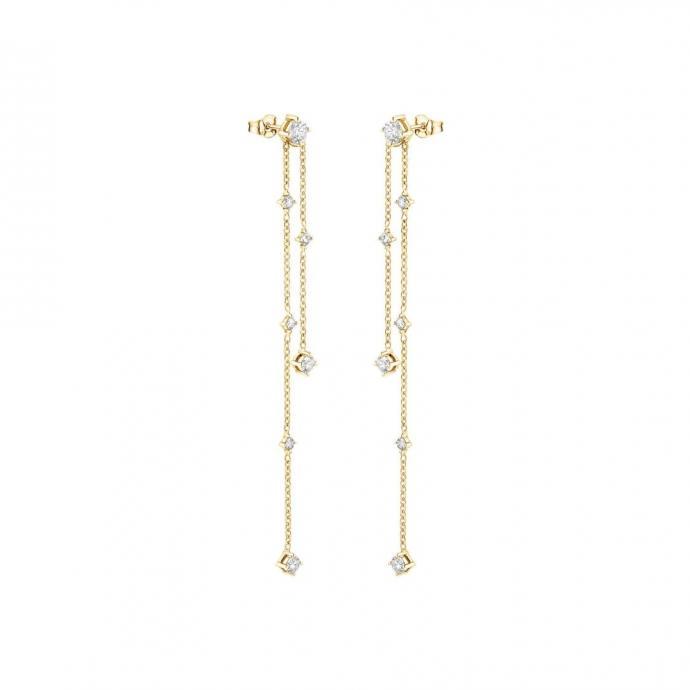 Boucles d'oreilles pendantes en or jaune, Gemmyo, 2200 €.