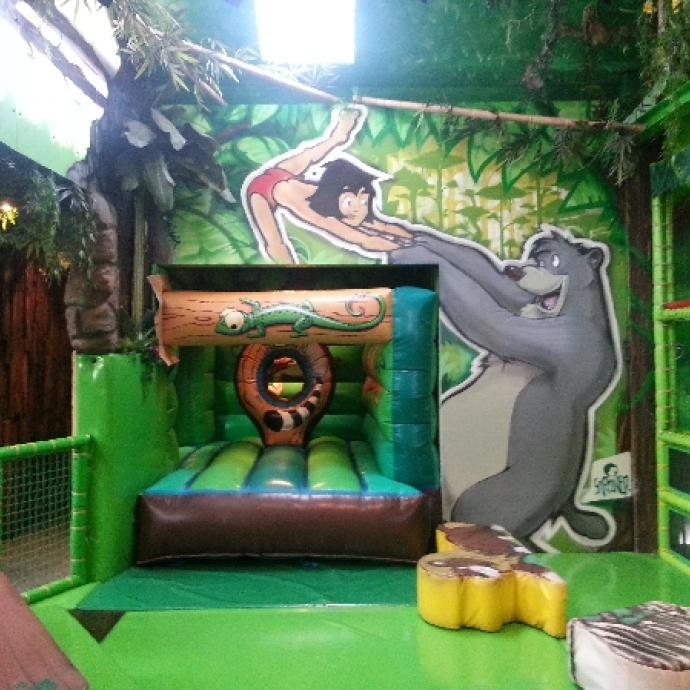 Cinéma 5D, manèges, attractions, chateaux gonflabes, toboggans, kartings électriques,  zone arcades, piscines à boules,… Plus de 6000 m² (dont 3000m2 à l'extérieur) de zones de jeux décorées sur le thème de la jungle attendent vos enfants de 0 à 12 ans.