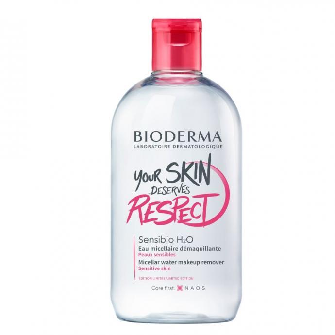 Eau micellaire Sensibio H2O, Bioderma,500 ml, 19,89€. Spécialement conçue pour l'hygiène quotidienne des peaux sensibles, elle restaure la pureté naturelle de la peau sainetout en respectant son film hydrolipidique.