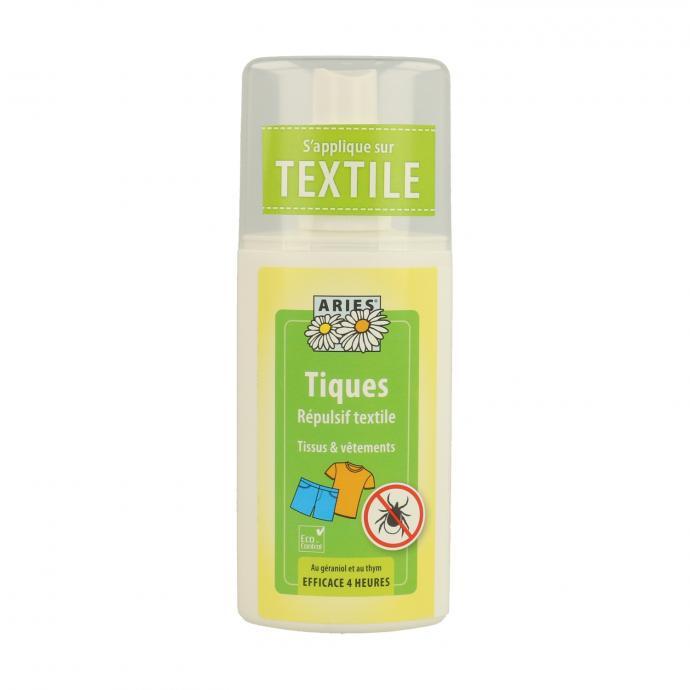 "R&eacute;pulsif textile pour Tiques 100 ml, 9,50&euro;,<em>&nbsp;disponible <a href=""https://www.naturitas.be/p/cosmeticos-e-higiene/anti-mosquitos-e-repelentes/repulsif-textile-pour-tiques-100-ml-aries"" target=""_blank"">ici</a>.</em>"
