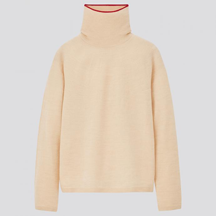 &nbsp;<br />Pull en m&eacute;rinos extra fin 3D &agrave; col roul&eacute;e manches longues Ines Femme - Uniqlo - 39,90&euro;