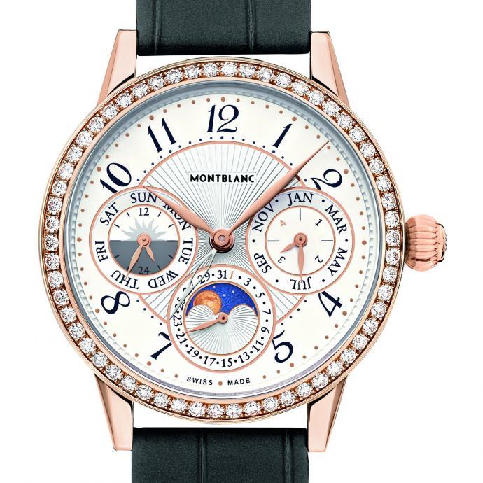 Or rose sertie de 58 diamants, 38 mm, bracelet en alligator gris, édition limitée à 100 pièces. Prix : 27.500 €