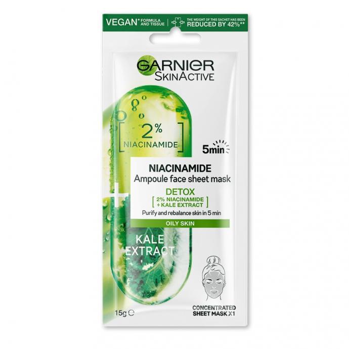 Ce masque ampoule en tissu concentre en niacinamide purifie visiblement la peau grasse en 5 minutes.