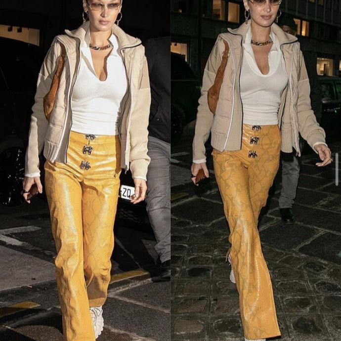 8. Un pantalon effet serpent du label Léo porté par Bella dans les rues de Paris pendant la semaine de la couture en janvier dernier. Un mois plus tard, elle s'affichait dans une version denim à l'occasion de la Fashion week de New York.