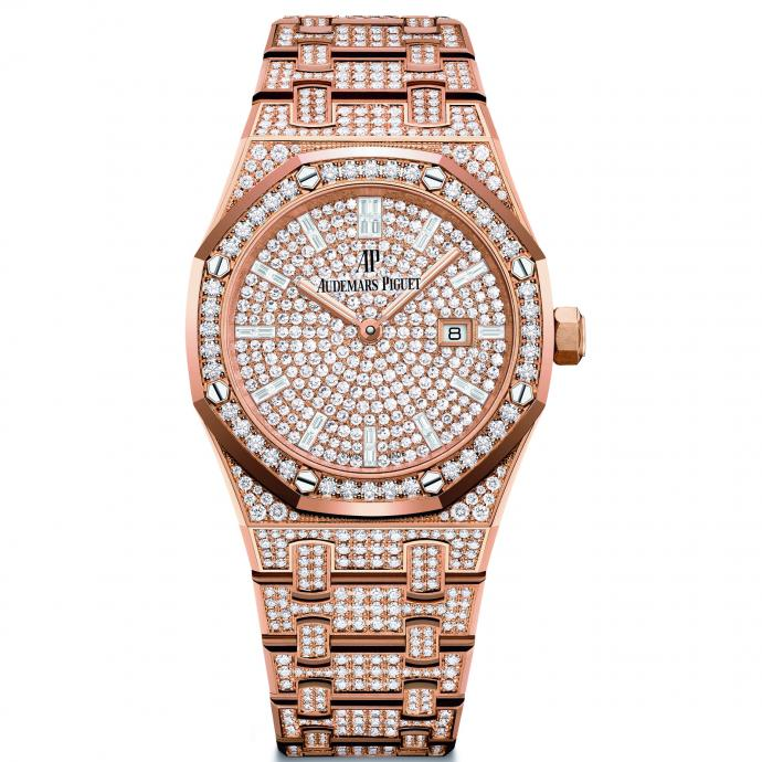 Boîtier et cadran en or rose sertis de diamants, fonctions heures, minutes et date. Prix : 140.700 €