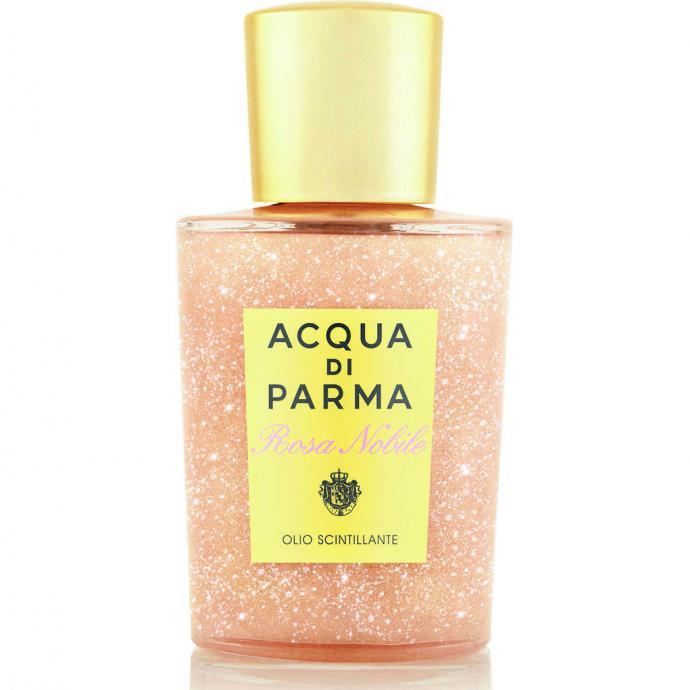 Pour rêver de discothèque : Huile pailletée Rosa Nobile Shimmering Oil, Acqua di Parma, 61€.