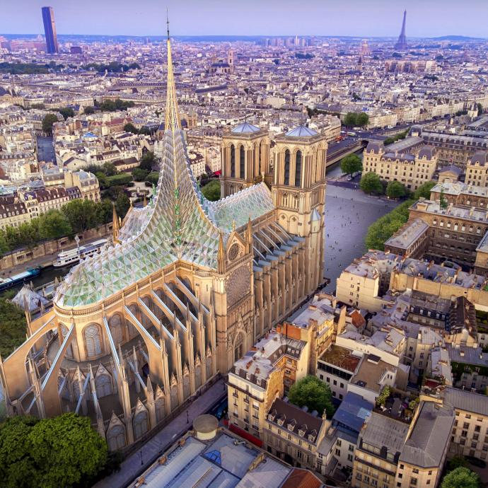 Palingenesis, hommage de Vincent Callebaut à Notre-Dame de Paris, une forêt gothique et biomimétique pour Paris, 2019.