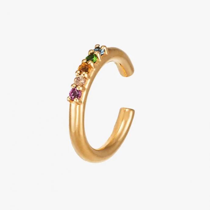On craque pour ce ear cuff fantaisiste avec pierres de couleurs, à porter en mode casual ou sur une tenue habillée.