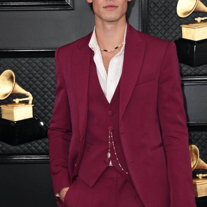 Shawn Mendes portait un collier haute joaillerie Serpenti en or rose, nacre et malachite BVLGARI et un costume Louis Vuitton.