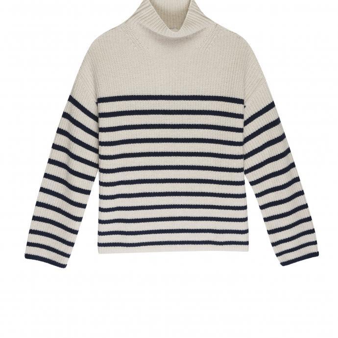 "Pull à longues manches en laine Claudia, Rails, 198 €. A shopper<a href=""https://www.railsclothing.com/products/claudia-cream-navy-stripe"" target=""_blank"">ici</a>."
