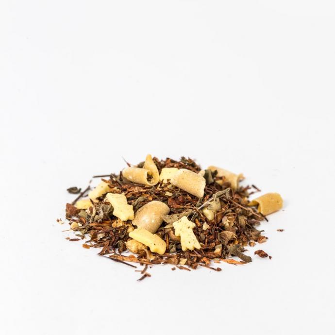Thé rooibos, flocon de sucre, flocons de carotte, poudre d'amande, tusli , morceaux de cannelle, mélange de chocolat et d'orange, mélange d'épices, achat en vrac, 9,99€ les 100 g.