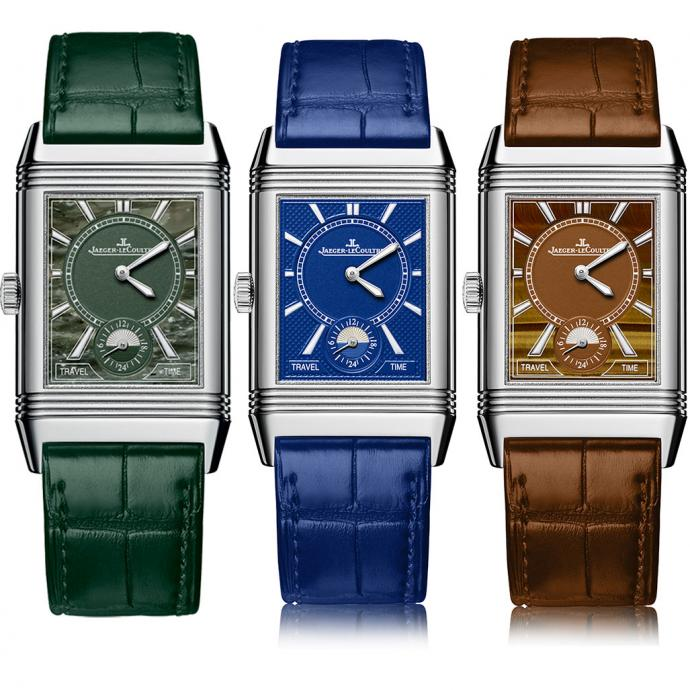 Montres Jaeger-LeCoultre Atelier Reverso – mouvement manuel – verso Travel Time Cadrans Electric Blue, Military Marble,Tiger's Eye.