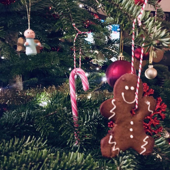 Pour faire patienter les gourmands avant le repas de Noël, il est très facile de réaliser quelques petits biscuits à accrocher sur le sapin! Peuimporte la forme, l'important est d'y faire un petit trou et d'y enfiler une petite corde.Une déco à croquer!