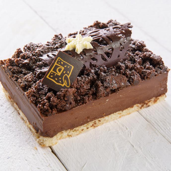 Biscuit à la vanille, mousse au chocolat et morceaux de brownie. 19,90 €. www1.lepainquotidien.com