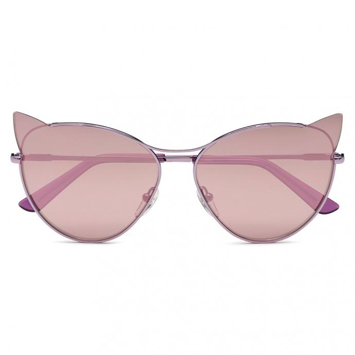 Les solaires miaou. Lunettes miroir rose, collection Choupette, Karl Lagerfeld Eyewear, 195€.