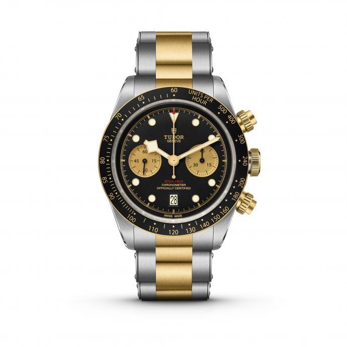 41 mm, lunette et couronne en or jaune, mouvement chronographe mécanique à remontage automatique bidirectionnel par rotor. Prix : 6.440 €