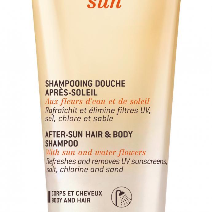 Pour une douche réparatrice : Shampooing douche après-soleil, corps et cheveux, Nuxe Sun, 12,50 € sur fr.nuxe.com