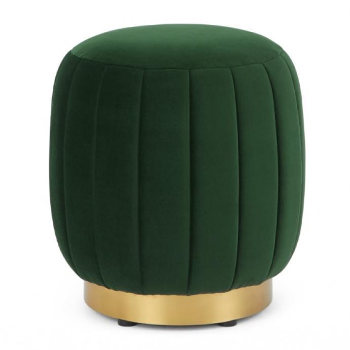 Pouf en velours vert forêt et base en laiton, Adie, 149 euros.