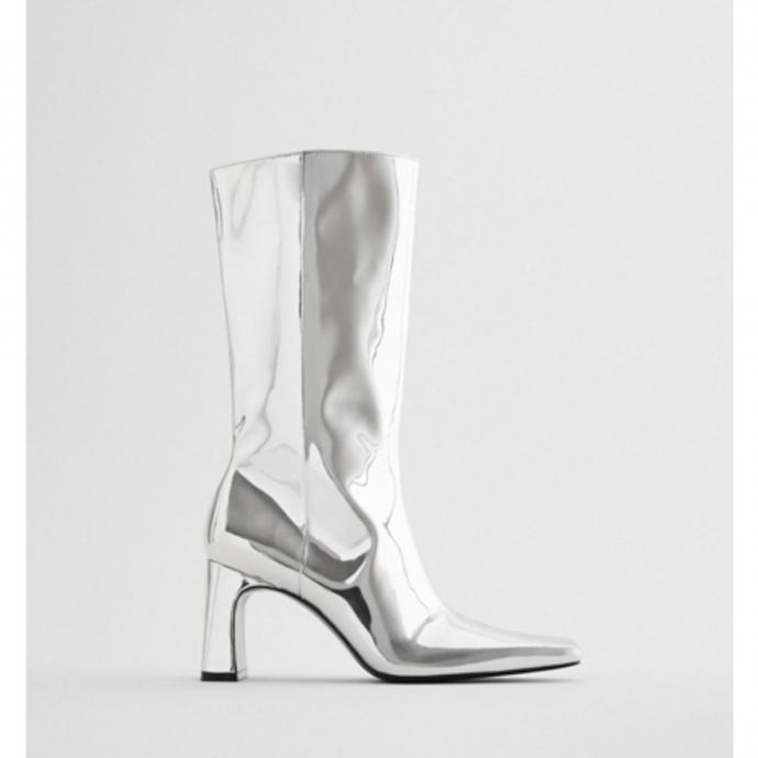 Bottes à talons hauts métallisés - Zara - 79,95€