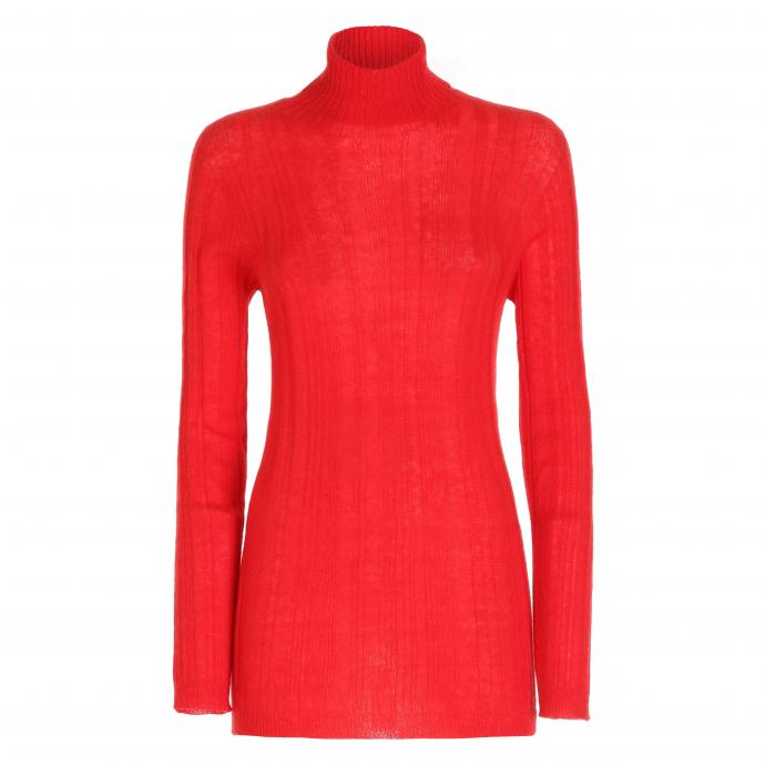 Chandail rouge a col montant, Woolrich, 140 €.