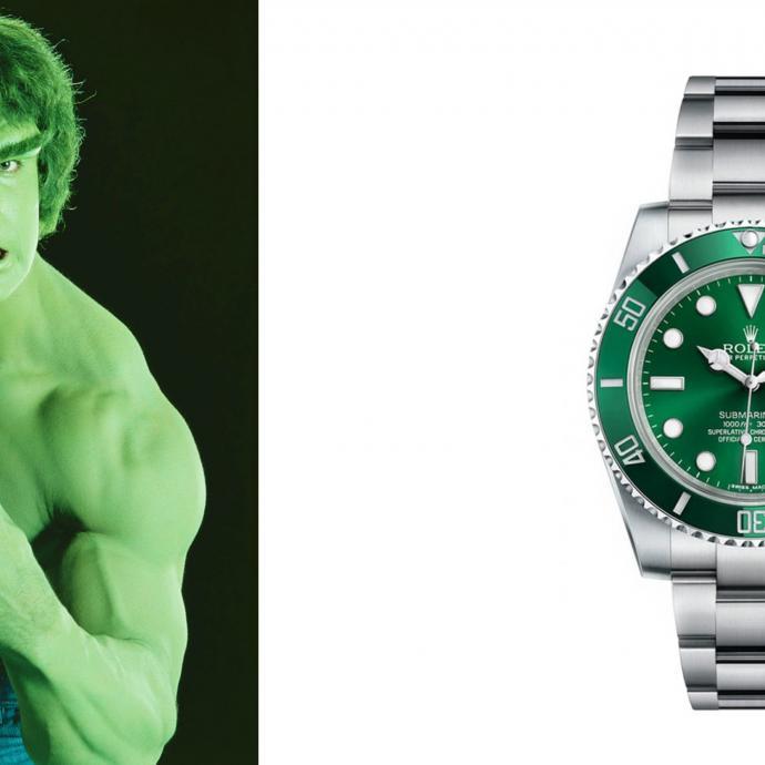 """Si Rolex n'a pas poussé le vert gazon jusqu'à son bracelet en acier (elle l'a peut-être fait pour le cuir), la céramique du cadran et de la lunette de cette Submariner est, elle, d'un superbe vert émeraude qui rappelle l'incroyable Hulk, le héros de Marvel. Si à ses débuts en 2010 elle n'a pas rencontré un franc succès, c'est aujourd'hui un must have absolu ! En effet, succédant à la Submariner """"Kermit"""", elle lui est préférée grâce à cette monochromie qui apporte une touche plus moderne que le cadran noir et la lunette verte de sa grande sœur."""