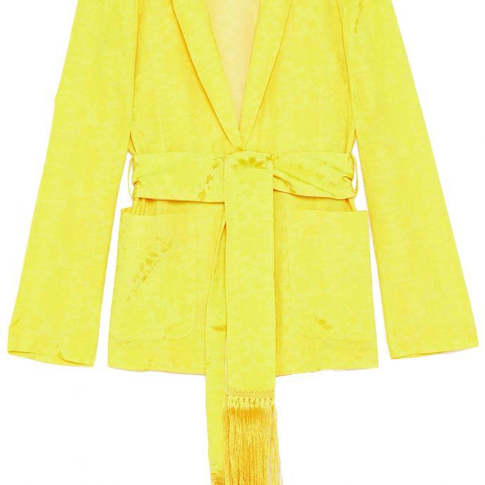 Un blazer d'intérieur : Blazer ceinturé jaune, Patrizia Pepe, 438€.