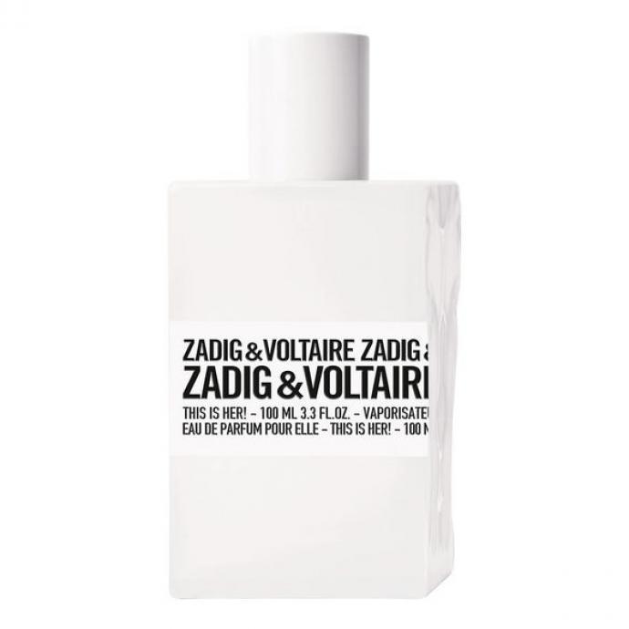 <em>This is her,</em> c'est la nouvelle eau de Parfum féminine de ZADIG &amp; VOLTAIRE. Une vanille-châtaigne sensuelle mixée au sillage rock du bois de santal. Le parfum d'une femme libre à l'esprit rebelle. Version masculine, cette eau de parfum se transforme en <em>This is Him</em>, offrant des senteurs vanilles-encens. Notes : Jasmin, Vanille châtaigne, sillage du bois de Santal.