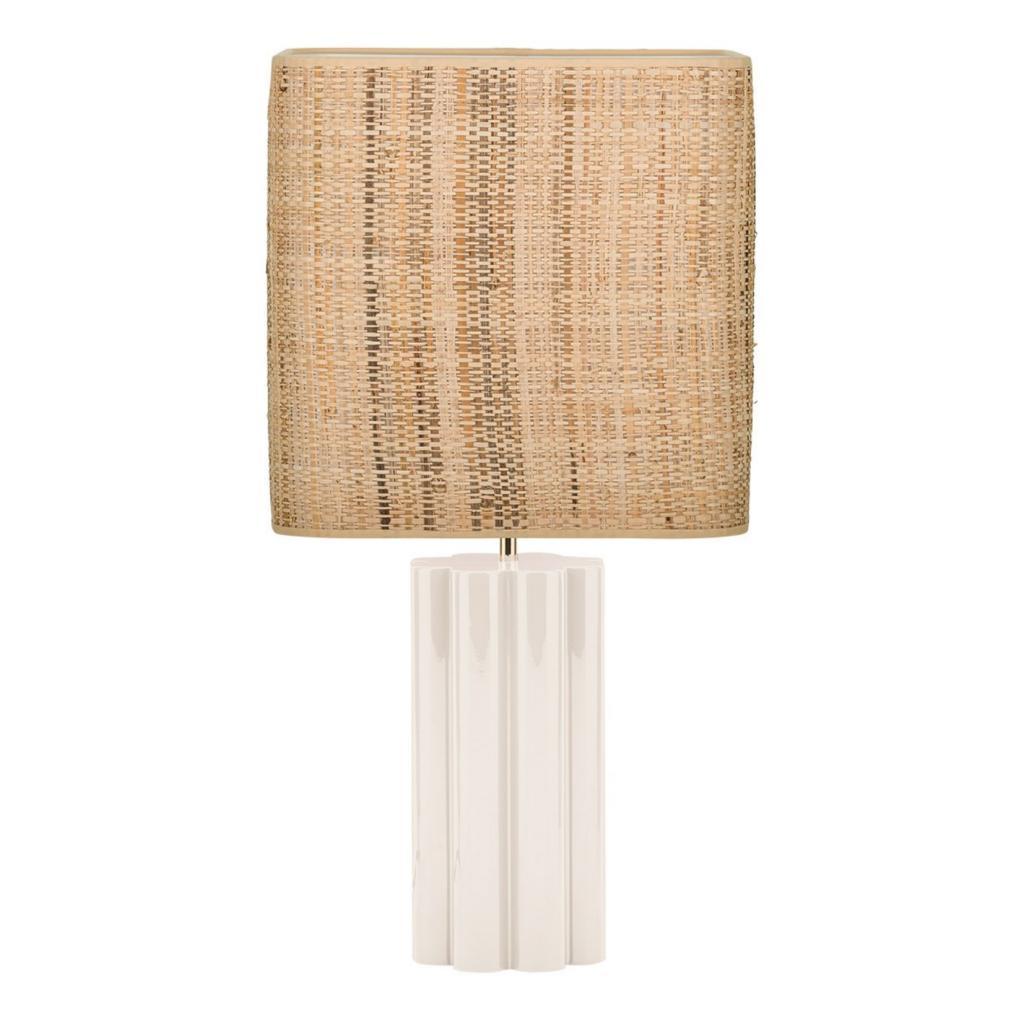 Lampe a poser en bois et rotin tresse Gioia, 420 € sur thesocialitefamily.com