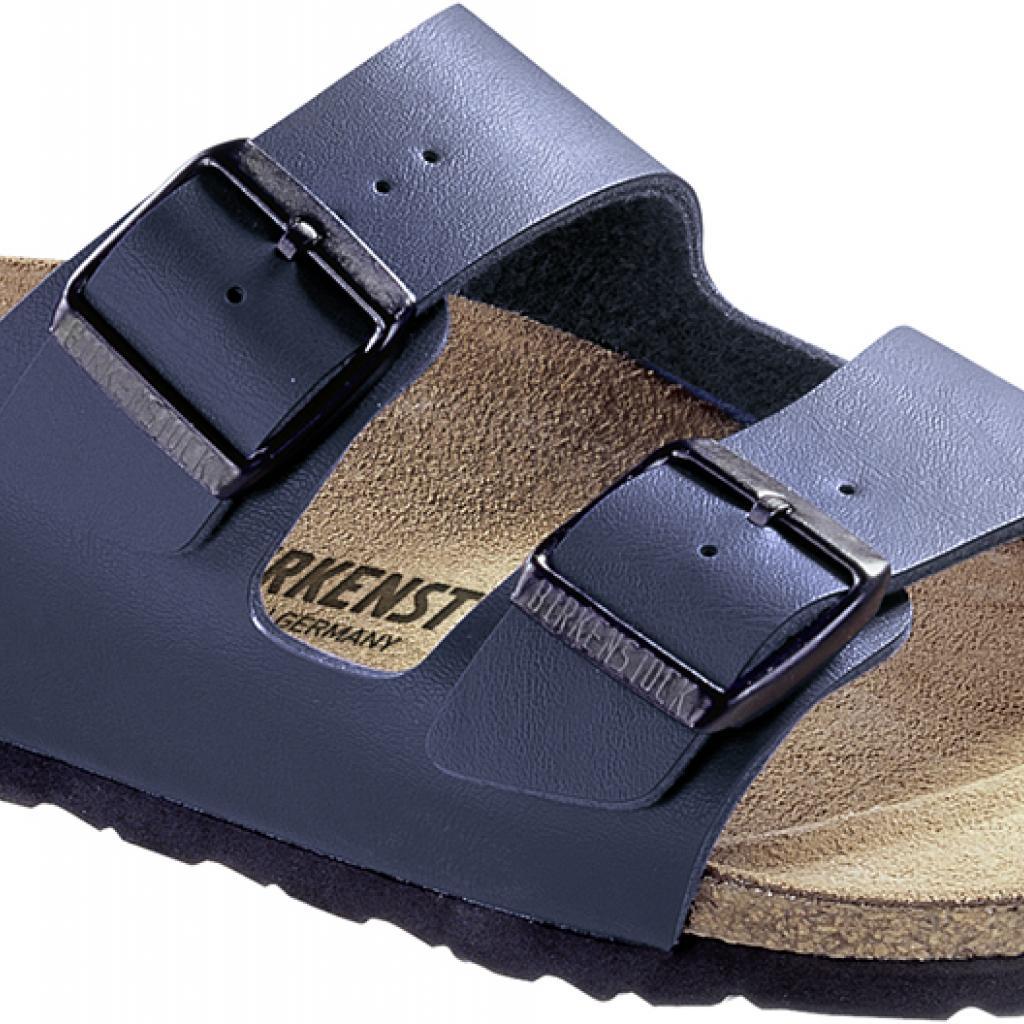 Sandale Arizona bleue en cuir, Birkenstock, 69,95€.