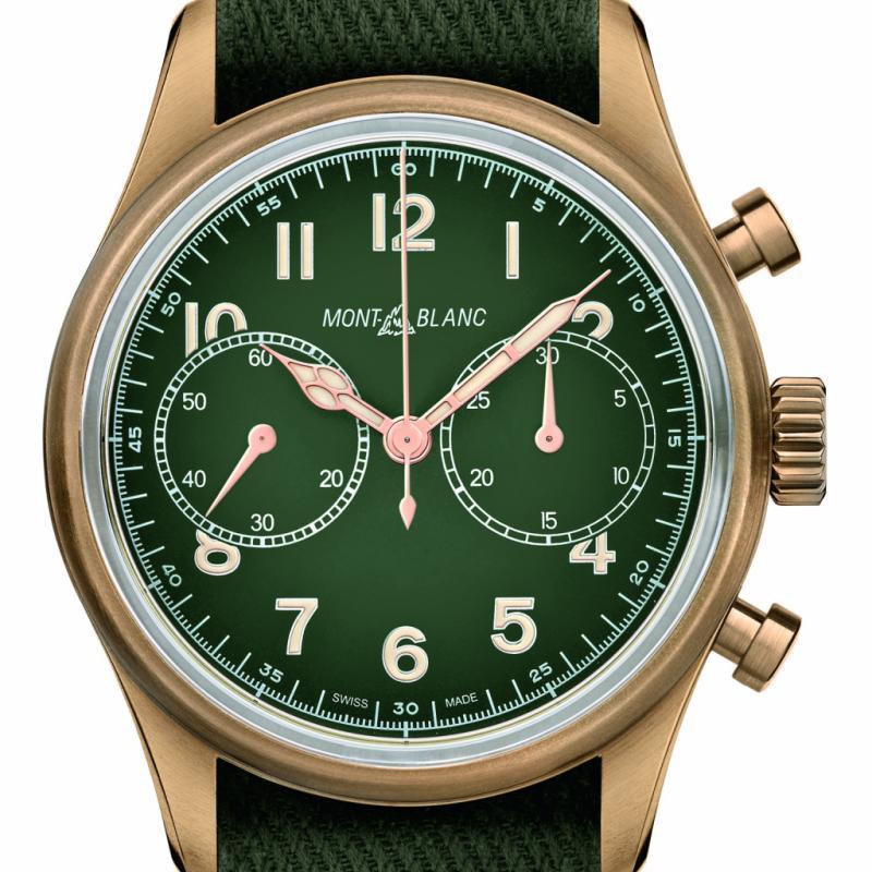 Le vert, particulièrement le kaki, reste très tendance. On aime toujours autant le 1858 Chronographe Automatique que la marque propose en bronze pour une édition limitée à 1858 pièces.