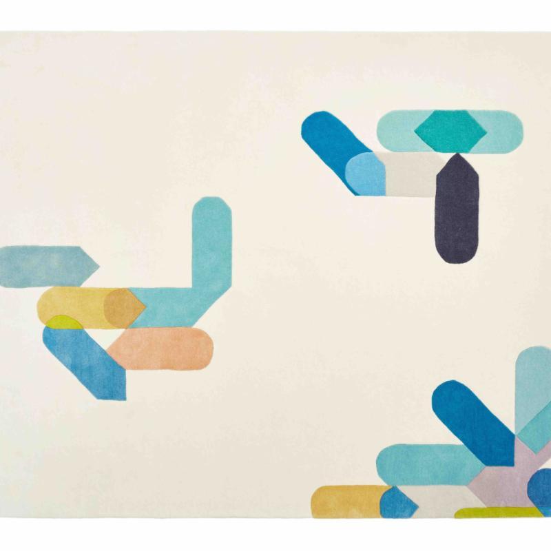 """Graphique, ludique, un tapis dans l'esprit pixel qui joue la surprise et casse la symétrie. Color Stamp en laine. Création Florian Hauswirth pour Nodus. 2033€. <a href=""""http://www.nodusrug.it"""">www.nodusrug.it</a>"""