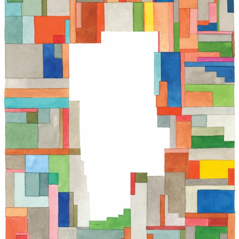 Cette aquarelle Block s'inspire du bloc d'appartements où Nigel Peake vit lorsqu'il est à Paris. Tirée en lithographie, elle a été exposée à Tokyo l'année dernière.