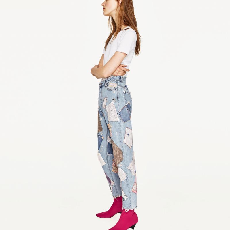 Ce jean patchwork taille haute à 50 euros chez Zara. Migraine ophtalmique assurée.