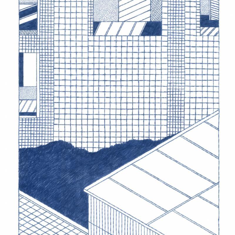 """Extrait du livre There, paru en 2016. Ce dessin a également été imprimé en affiche, en édition limitée signée et numérotée, via un procédé écologique d'origine japonaise appelé """"risographie"""" qui offre un rendu très particulier."""