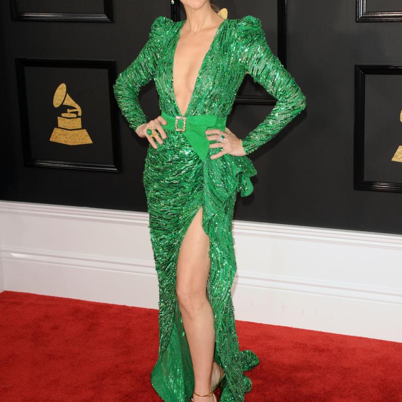 Céline Dion a opté pour le vert et on applaudit! La chanteuse canadienne rayonne dans sa robe fourreau fendue signée Zuhair Murad. On souligne son décolleté vertigineux.