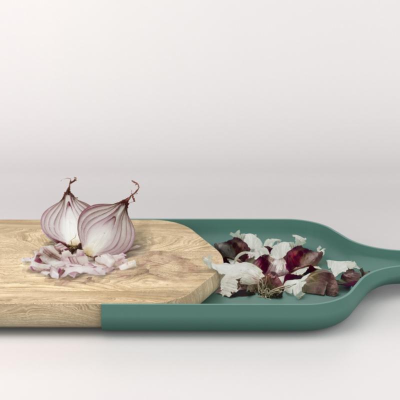 Cette planche à découper design et très pratique créée par Vincent Le Guern et designée par Alain Gilles.