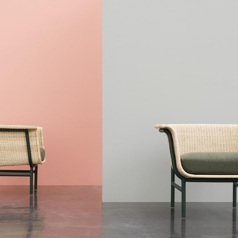 La collection Wicked, créé par Vincent Sheppard, joue avec les logiques de construction. Ici, des sièges en rotin qui s'imbrique d'une manière moderne et graphique.