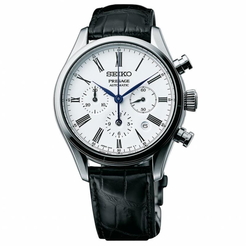 Montre Seiko Présage – cadran émail grand feu – mouvement automatique – chronographe – calibre manufacture - diamètre 40 mm – réserve de marche 45 h. – prix : 2.500 € - édition limitée.