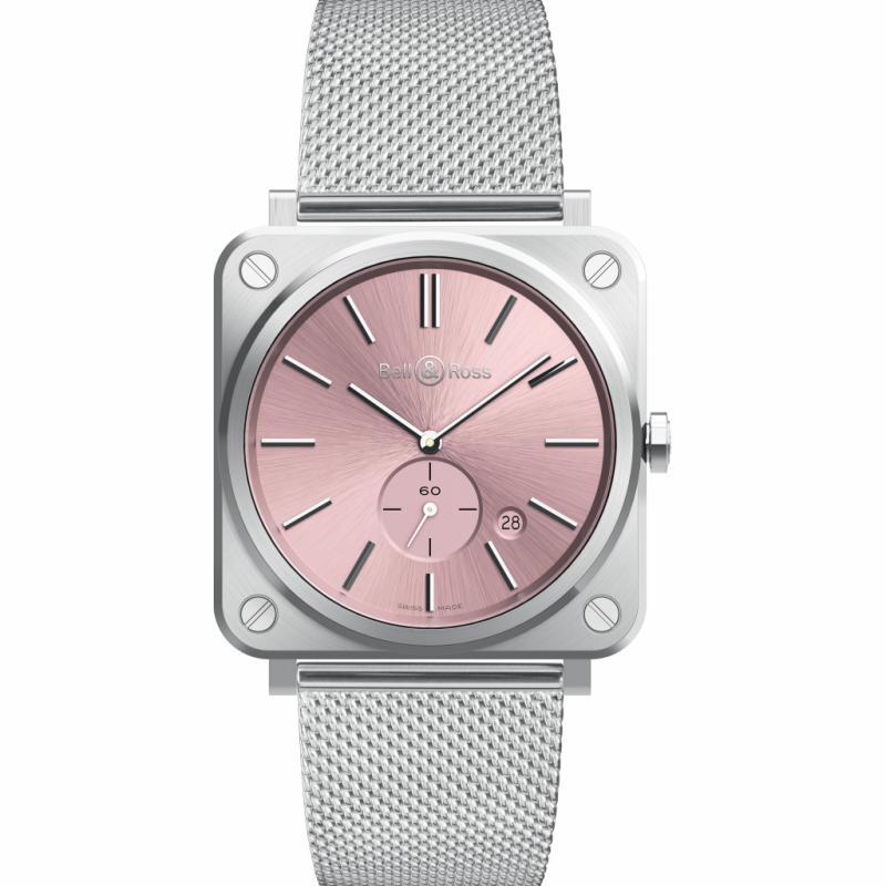 Montre Bell & Ross Novarosa - mouvement quartz - cadran acier - bracelet milanais.
