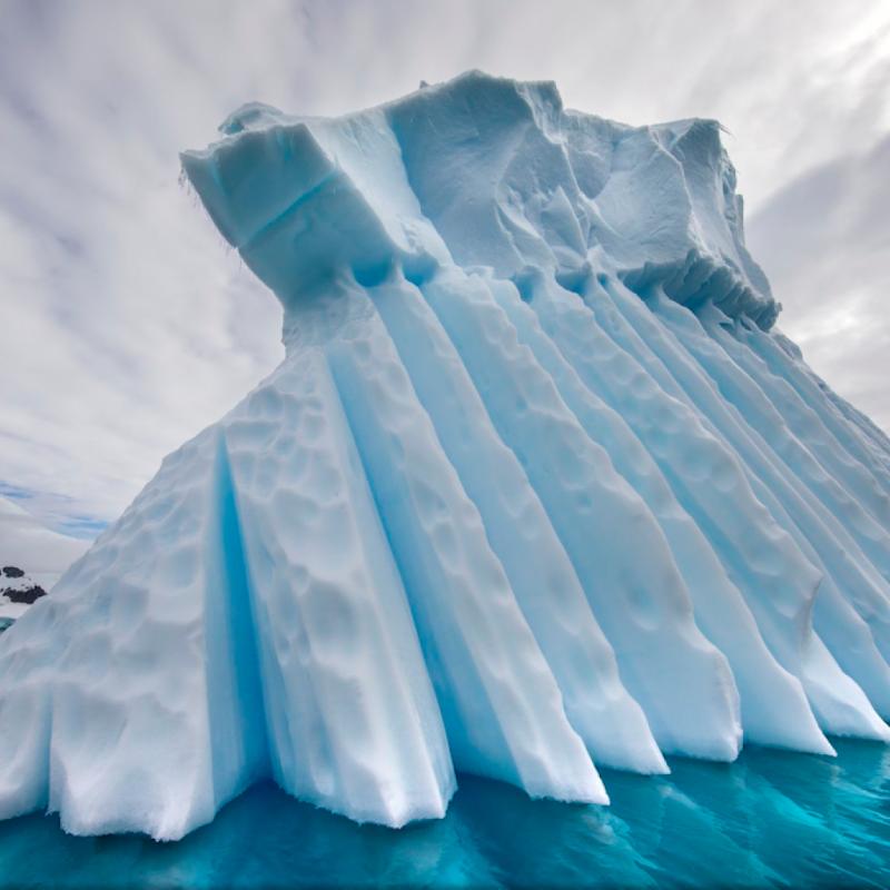 Dans le canal d'Errera sur la péninsule antarctique cet immense iceberg a été sculpté et porté par les eaux glacées antarctiques. PHOTOGRAPHIE DE CLARA DAVIES.