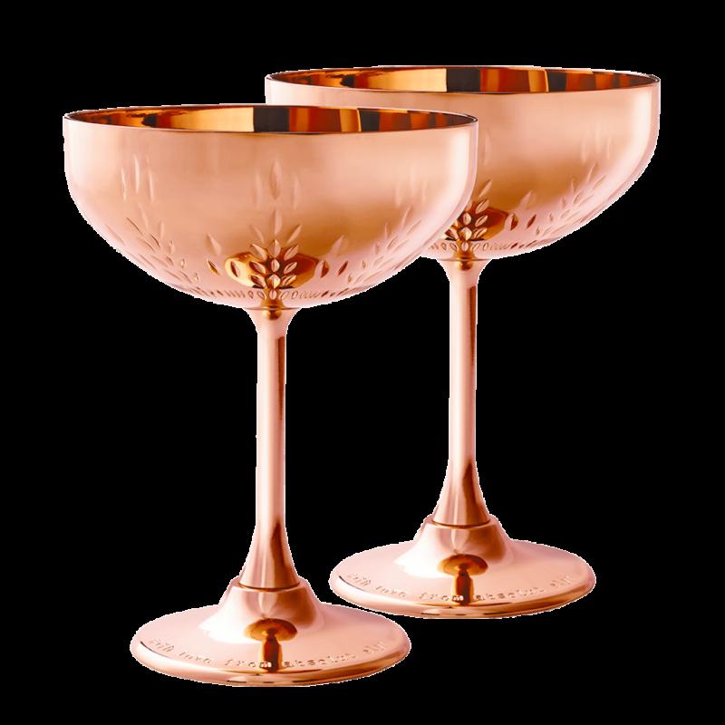 Coupe à champagne en cuivre, Elyxboutique, 70€ la paire
