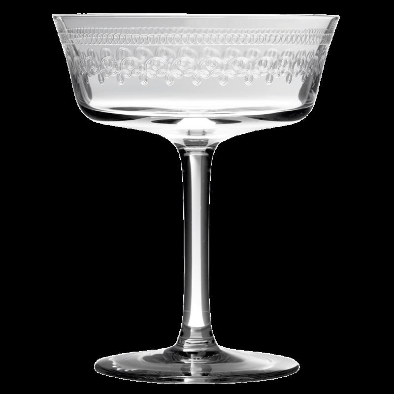 Coupe à champagne en verre gravé, sur Urbanbar.com, 10€